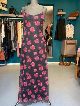 Maxikleid mit Rosen, Second-Hand