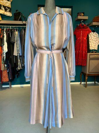 Vintage-Kleid mit Streifen blau/braun
